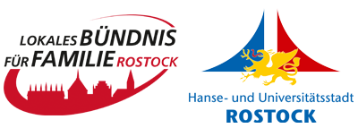 Logos Lokales Bündnis für Familie Rostock und Hanse- und Universitätsstadt Rostock